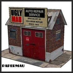 Auto Repair Service House Free Building Paper Model Download - http://www.papercraftsquare.com/auto-repair-service-house-free-building-paper-model-download.html