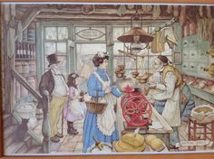 In the Store - Anton Pieck, Dutch painter, artist and graphic artist. Puzzles, Anton Pieck, Dutch Painters, Reproduction, Dutch Artists, You Draw, Vintage Art, Find Art, Cross Stitch Patterns