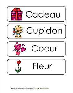 La Magie du Préscolaire - Matériel éducatif gratuit | St-Valentin Kindergarten Vocabulary, French Class, Saint Valentine, Valentines For Kids, Sticker Paper, Grade 1, Activities For Kids, Alphabet, Teaching