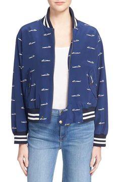 Sea Fish Print Silk Bomber Jacket