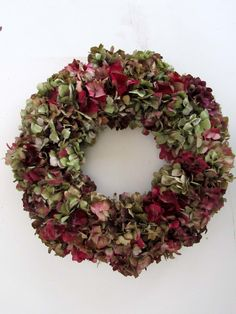 Hydrangea Wreath Dried Hydrangea Wreath Hand by donnahubbard Christmas Door Wreaths, Christmas Flowers, Natural Christmas, Christmas Decorations, Wreaths And Garlands, Fall Wreaths, Hydrangea Wreath, Floral Wreath, Christmas Inspiration