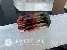 Bicolor Watermelon Tourmaline Emerald Cut Large Fine Quality Loose Gemstone #Bead #bicolor_loose_tourmaline #bicolor_tourmaline