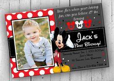Kids Birthday Invitations Mickey Mouse by PartyPrintableInvite Mickey Mouse First Birthday, Mickey Mouse Birthday Invitations, Mickey Mouse Clubhouse Party, Disney Invitations, Mickey Party, Invites, 1st Birthday Themes, One Year Birthday, Boy Birthday