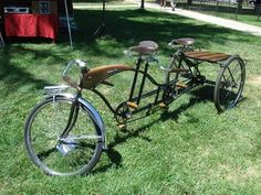 Custom bicycles - old school - too cool. '60s Huffy Daisy Tandem customized to a tandem trike.  I am thinking a tandem trike should be my next bike project.  The garage can always house just one more bike.