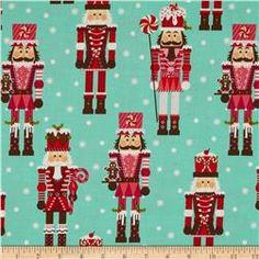 Michael Miller Holiday Santa's Farm Nutcrackers Aqua