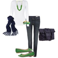 Now I'm obsessed with Polyvore and creating outfits lol. My navy & green creation ;)