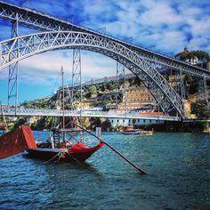 Dom Luís I bridge spanning the river Douro. / #porto #portugal / #architecture #history #doubledeck