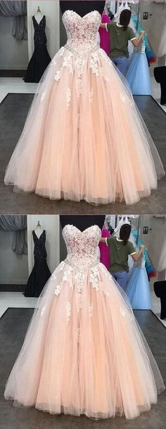 Pink Prom Dress,Sweetheart Neck Prom Dress,Tulle Beaded Prom Dress,Sweep train Prom Dress,Evening Dress with Applique