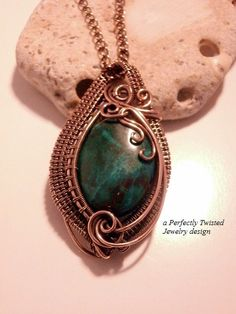 Sold! Wire Wrap Pendant Necklace Chrysocolla by PerfectlyTwisted on Etsy