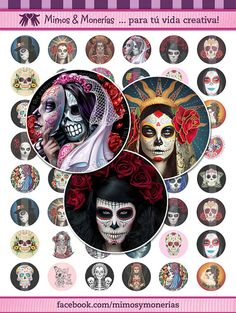 """Day Of The Dead - 1"""" Bottle Cap Images - Digital Collage Sheet 8.5x11"""" and 4x6 """" - Hair Bow Centers, Magnets, Stickers - INSTANT DOWNLOAD"""