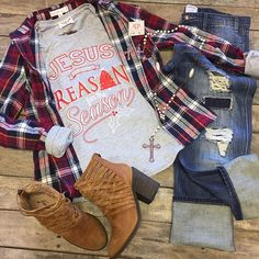 """#NEWARRIVALS  #Flannel #Top $19.99 S-L #ATXMAFIA #jesusisthereasonfortheseason $42.99 #Distressed #Boyfriends $49.99 26, 29-31 #FreePeople #Booties $198 #PinkPanache #Necklace $44.99 & #Earrings $24.99 We #ship! Call to order! 903.322.4316 #shopdcs #goshopdcs #shoplocal #love"" Photo taken by @daviscountrystore on Instagram, pinned via the InstaPin iOS App! http://www.instapinapp.com (12/04/2015)"