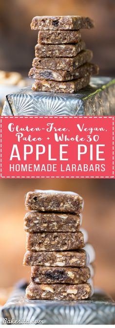 This Homemade Apple Pie Larabar Recipe is super simple and incredibly delicious - it requires no baking, and it's the perfect gluten-free, Paleo, vegan, and snack.(Simple Whole 30 Recipes) Paleo Vegan, Roh Vegan, Protein Snacks, Vegan Snacks, Healthy Snacks, Paleo Snack Recipes, Gluten Free Protein Bars, Baking Snacks, Paleo Bars