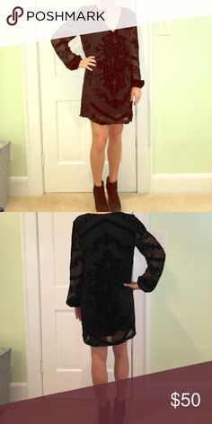 Urban Outfitters Velvet Cocktail Dress Long sleeve beautiful velvet black dress. Perfect for formal winter events! By staring at stars. Great condition. Dresses Long Sleeve