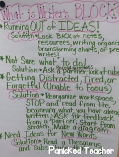 Organizing Student's Writing Ideas! Especially when students get writer's block!