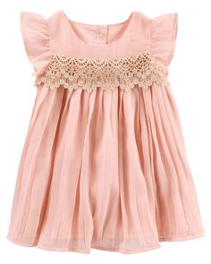 Baby B'Gosh Pink Dress with Lace Detail and Diaper Cover