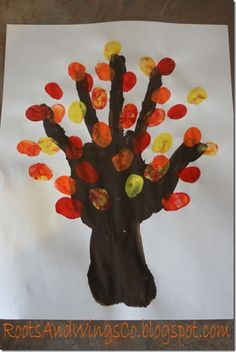 finger painting tree : preschool activity  using hand and fingerprints