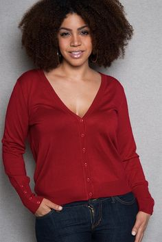 2a840ae32aa Button Sleeve Plus-Size V-Neck Cardigan - Burgundy from Ambiance Apparel at Lucky  21 cardigan plus-size button sleeve