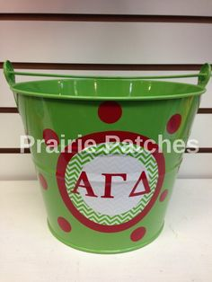 Alpha Gamma Delta circle monogram metal bucket #PrairiePatchesLawrence