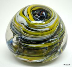 Art Glass #Paperweight Ball Yellow Blue White #Hurricane Swirl 2in Modern unsigned Unbranded