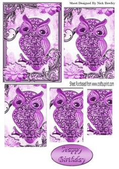 Cute pink diamante owl on a branch with flowers pyramids on Craftsuprint - Add To Basket!