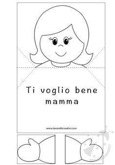 BIGLIETTO D'AUGURI POP UP Modello di Biglietto pop up con bambina da stampare e colorare a proprio piacimento. Biglietto per la Festa della Mamma Materiale