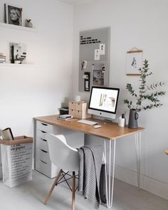 Home office. Bedroom office space- Home office. Bedroom office space Home office. Mesa Home Office, Home Office Bedroom, Bedroom Desk, Home Office Design, Home Office Decor, Office Ideas, Office Designs, Small Home Office Desk, Computer Desk In Bedroom