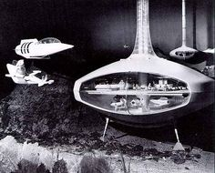 """""""I'd like to be under the sea…"""" The undersea hotel model from the 1964 World's Fair. With some of the Earth's surface covered by sea, underwater habitats seem inevitable. Outer Space Decorations, World Of Tomorrow, Retro Futuristic, Futuristic Design, World's Fair, Googie, Future City, Sci Fi Art, Dieselpunk"""