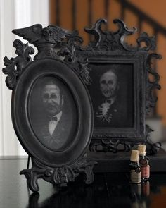 Black Painted Frames with Creepy Photos Inside | 24 Beautiful And Stylish Ways To Decorate For Halloween