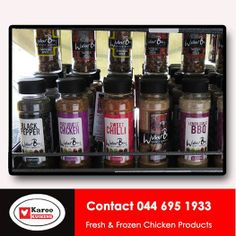Karoo Kuikens has a wide range of herbs and spices to compliment the chickens we sell. Visit our store today in the Fruit and Veg Square in Voorbaai. Best Chicken Dishes, Chicken Stuffed Peppers, Frozen Chicken, Fruit And Veg, Bbq, Spices, Lemon, Herbs, Range