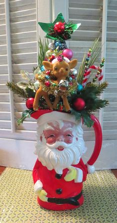 Image of Vintage Ceramic Santa Pitcher with Lots of Christmas Joy Christmas Scenes, Christmas Toys, Christmas Wreaths, Christmas Decorations For The Home, Christmas Centerpieces, Holiday Decor, Vintage Christmas Ornaments 1950s, Vintage Santas, Vintage Wreath