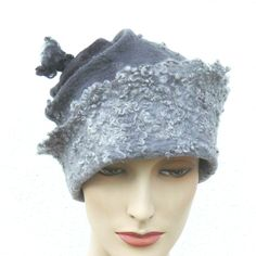 Felted Hat Handmade Merino wool -  A unique grey cap by MajorLaura on Etsy