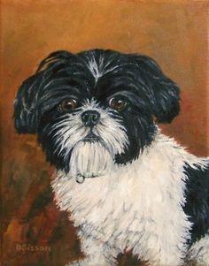 Shih Tzu , painting by artist Debra Sisson Pebble Painting, Tole Painting, Acrylic Art, Acrylic Paintings, Indie Drawings, Shih Tzu Dog, Animal Paintings, Dog Art, Pet Portraits