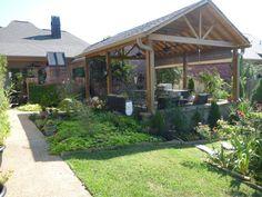 Outdoor kitchen, gardens, and pond, Covered outdoor kitchen.  , Patios & Decks Design