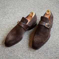 #StefanoBemerMTO single monk strap in a very interesting combination of dark brown suede and shark skin! http://abphy.com/media/BMeSK_xjd3a