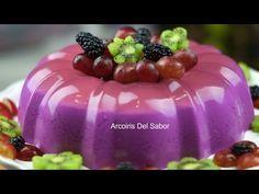 GELATINA DE REFRESCO SABOR UVA - YouTube My Recipes, Sweet Recipes, Cooking Recipes, Jello Desserts, Dessert Recipes, Coca Cola, Purple Cakes, Baked Goods, Jelly