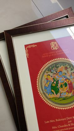 Only 3 pieces were made on order. These wedding cards have original Madhubani Paintings on Palm Leaf and designed with Gold and Red. These were framed and given Pitambari Fabric Envelope. Completely exclusive and hand made as could be.
