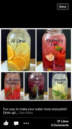 Infused water. These sound good!!
