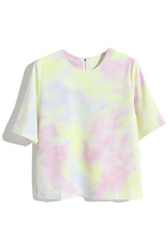Pink Tie-dye T-shirt. Description Pink T-shirt, featuring scoop neck, short sleeves, loose styling, a soft touch fabric,zipper back,tie-dye. Fabric Cotton,Polyester. Washing Cool hand wash with similar colours, cool iron, dry flat, do not tumble dry, do not bleach. #Romwe