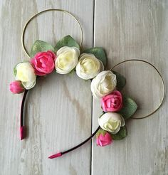 Peony and Eucalyptus Gold Wire Minnie Ears