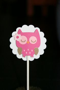 Owl Cupcake toppers Baby Girl Cupcake Toppers by AllAroundWhimsy