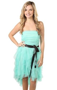 glitter high low dress with satin tie belt