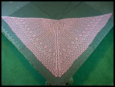 """Finished size: 70"""" wide x 31"""" long x 51"""" along sides. 7 days to knit. 164 rows/383 stitches."""