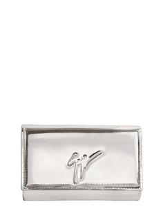GIUSEPPE ZANOTTI LOGO METALLIC LEATHER CLUTCH. #giuseppezanotti #bags #shoulder bags #clutch #metallic #leather #hand bags #