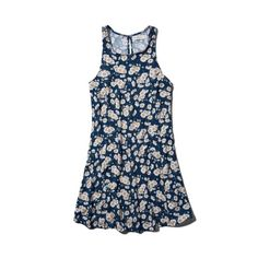 Abercrombie & Fitch Isabelle Shift Dress ($16) ❤ liked on Polyvore featuring dresses, navy floral pattern, navy blue floral dress, navy blue dress, navy floral dress, navy dress and blue dresses