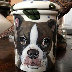 Custom ceramic pet portrait cookie jar treat jar hand painted portrait of your pet