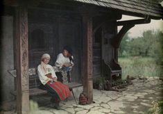 vintage everyday: 27 Rare and Fascinating Color Photographs of Romania in the 1930 - Two women stand and sit outside a tea house (Bran). Appalachian People, Economic Problems, Rich Image, Extraordinary People, Vogue Covers, Woman Standing, Vintage Photographs, World Cultures, Royalty Free Photos
