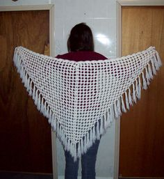 White Fringed Shawl by amydscrochet on Etsy, $25.00