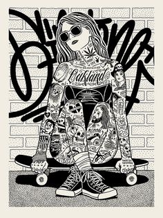 cross leg skater by Mike Giant Mike Giant, Arte Pop, Illustration Inspiration, Illustration Art, Tatouage Rock And Roll, Art Sketches, Art Drawings, Coloring Books, Coloring Pages