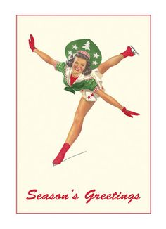 """Christmas Skater - Found Image - Holiday Card. They'll skate in circles of glee when they receive this retro holiday card from you. Figure out something seasonally sweet to say inside then send! 5"""" x 7"""" Folded Card. Price: $2.99"""