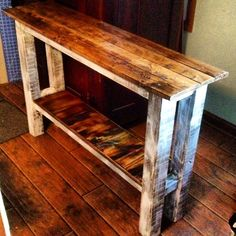 Console Table/CUSTOM ORDER TABLE///muted colors or Rustic Sofa Table, Entry Table, Office table/see all pictures custom made for your space Pallet Sofa Tables, Decor, Rustic Furniture, Wood Table Diy, Diy Sofa, Diy Furniture, Rustic Sofa, Rustic Couch, Rustic Sofa Tables